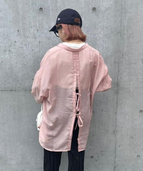 ピンクシアーバックリボンシャツ