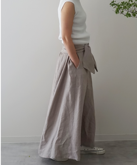 ベルト付き リネンマキシスカート