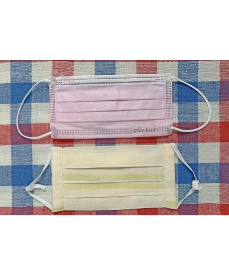 ダブルガーゼの4重プリーツマスク ピンク系 ※消費税・送料込