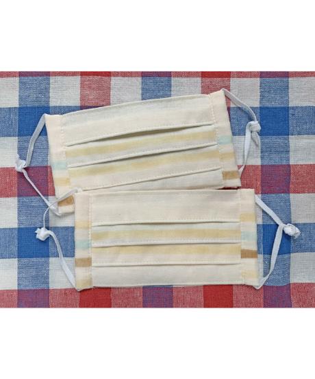 ダブルガーゼの4重プリーツマスク ブルー系 ※消費税・送料込