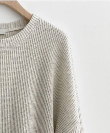 loose waffle long T (3color)