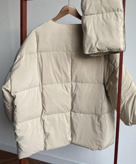No-collar Over down Jacket マフラーセット  (2color)