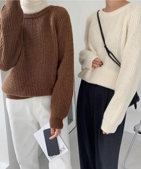 rib cut knit (4color)