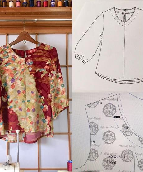 着物リメイクパターンと作り方:Tブラウス7分丈袖パフスリーブ