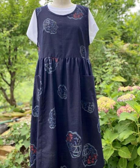 着物リメイクパターン:エプロンドレス(縫い代付き、作り方付き)