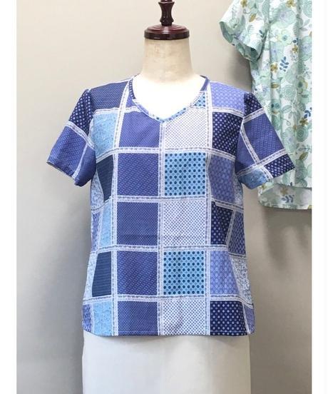 着物リメイクパターン:Tブラウス半袖  LLサイズ