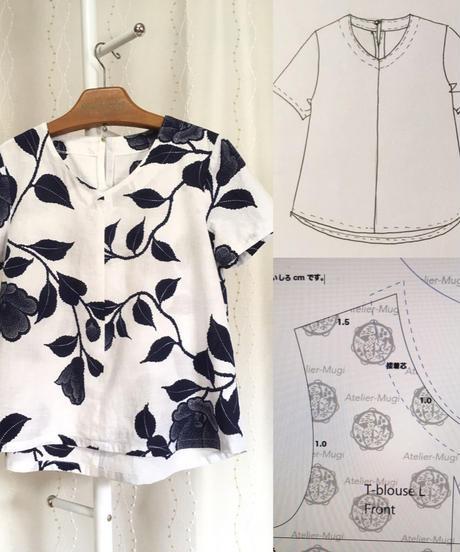 着物リメイクパターン:Tブラウス半袖  3Lサイズ