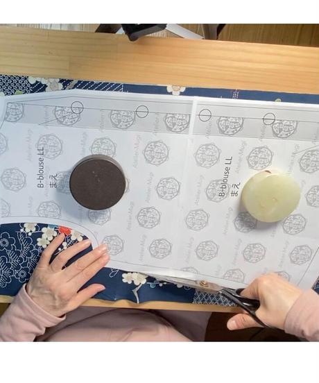 着物リメイクパターン:前あきブラウス(縫い代付き、作り方youtube動画あり)