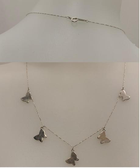 【シルバーカラー】バタフライチャーム 3連ネックレス Butterfly charm triple necklace (Silver925)