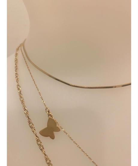 【ゴールドカラー】バタフライチャーム 3連ネックレス Butterfly charm triple necklace《18KGP (Silver925)》