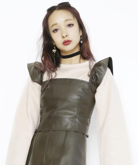 Fake leather frill tops