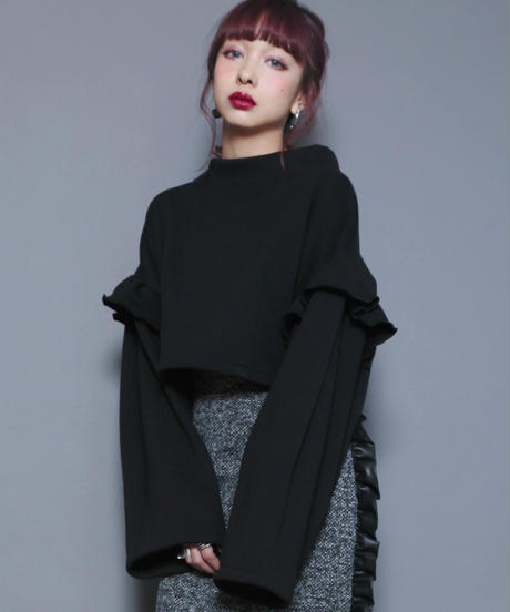 High neck volume sleeve tops