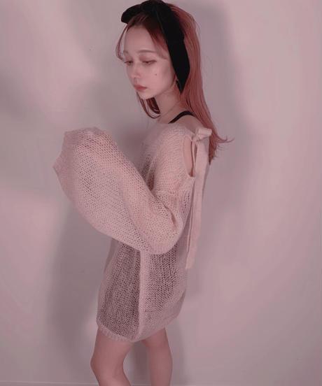 肩リボンモヘアニット Shoulder Ribbon  Mohair Knit