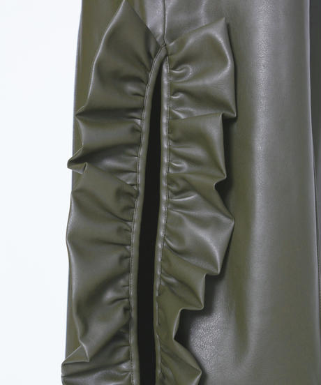 Fake leather frill pants