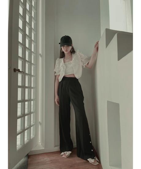 バックリボンサイドスリットパンツ Back Ribbon Side Slit Pants
