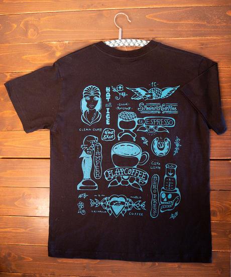 フラップコーヒーオリジナルTシャツ黒 FLAP COFFFEE ORIGINAL T-SHIRT BLACK