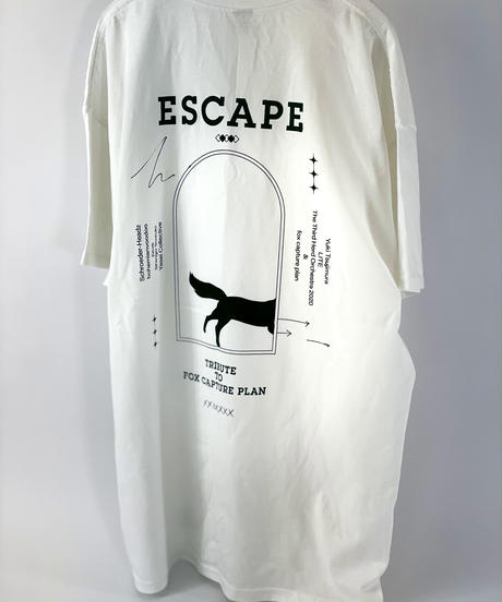 """ ESCAPE -Tribute to fox capture plan- "" ART WORK ポケット Tシャツ【ホワイト×グリーン】"