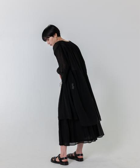 ケシプリーツロングカーディガン / BLACK
