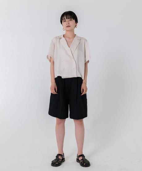 サテンオープンカラーシャツ/ IVORY