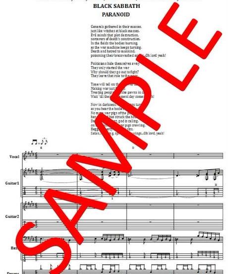 ブラック・サバス(BLACK SABBATH) / ウォー・ピッグス(WAR PIGS) バンド・スコア (TAB譜) 楽譜
