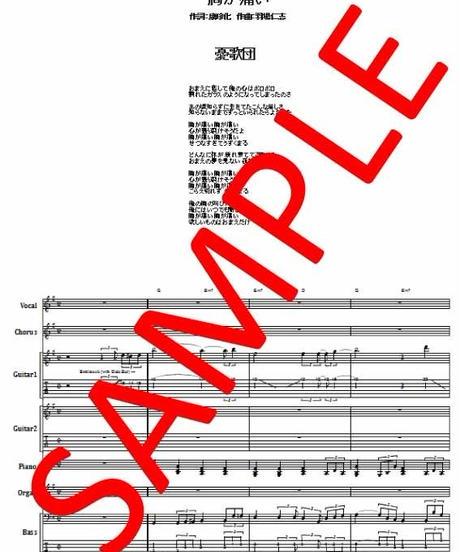 憂歌団  / 胸が痛い  バンド・スコア(TAB譜)  楽譜