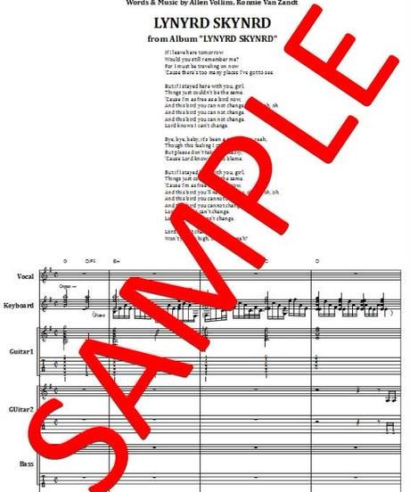 レーナード・スキナード(LYNYRD SKYNYRD)/ フリー・バード (FREE BIRD) バンド・スコア(TAB譜)  楽譜