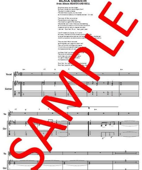 ブラック・サバス(BLACK SABBATH) / HEAVEN AND HELL(ヘヴン&ヘル) ギター・スコア(TAB譜)  楽譜