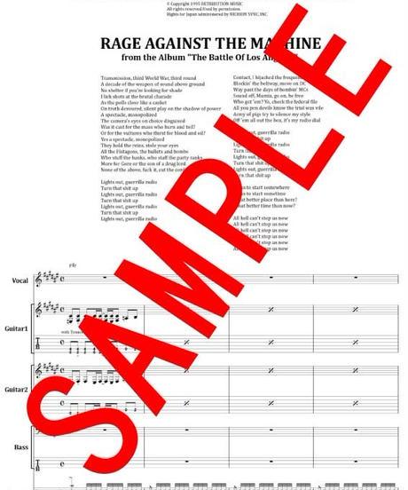 RAGE AGAINST THE MACHINE (レイジ・アゲインスト・ザ・マシーン) / GUERRILLA  RAIDIO バンド・スコア(TAB譜) 楽譜 from68