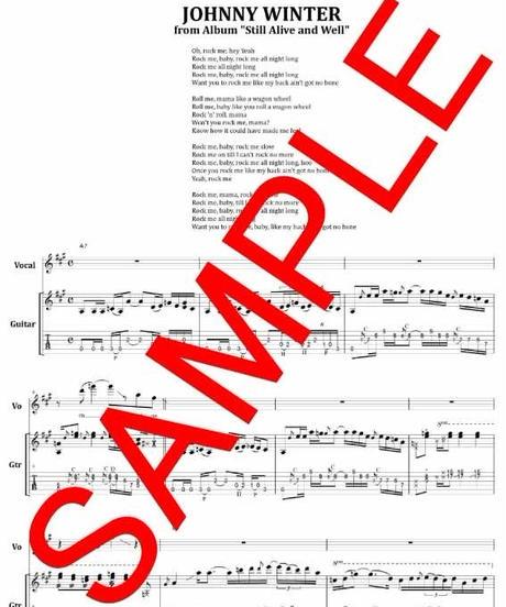 ジョニー・ウィンター (JOHNNY WINTER) / ロック・ミー・ベイビー (ROCK ME BABY) ギター・スコア(TAB譜) 楽譜