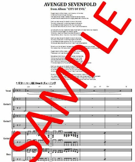 アヴェンジド・セヴンフォールド ( AVENGED SEVENFOLD) / BAT COUNTRY (バット・カントリー)  バンド・スコア(TAB譜)  楽譜