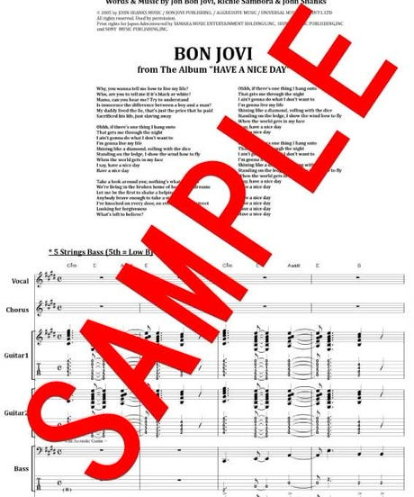 ボン・ジョヴィ (BON JOVI) / HAVE A NICE DAY (ハヴ・ア・ナイス・デイ) バンド・スコア(TAB譜) 楽譜 from68
