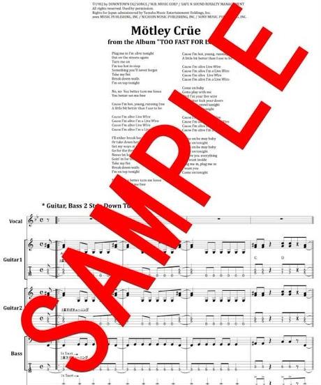 モトリー・クルー(MOTLEY CRUE)  / LIVE WIRE バンド・スコア(TAB譜) 楽譜