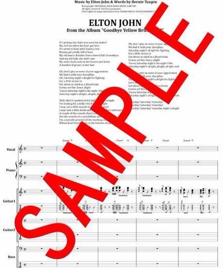エルトン・ジョン(ELTON JOHN) / 土曜の夜は僕の生きがい(SATURDAY NIGHT'S ALRIGHT FOR FIGHTING) バンド・スコア 楽譜 from68