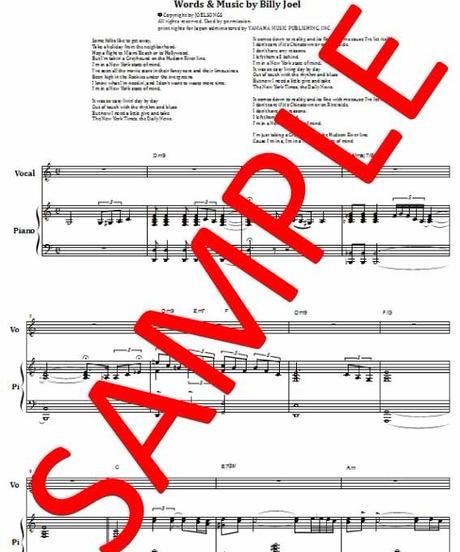 ビリー・ジョエル (BILLY JOEL)   /  ニューヨークの想い(NEW YORK STATE OF MIND)  ピアノ・ヴォーカル  楽譜