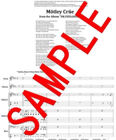【10曲セット】 モトリー・クルー(MOTLEY CRUE) BEST SELLECTION 楽譜