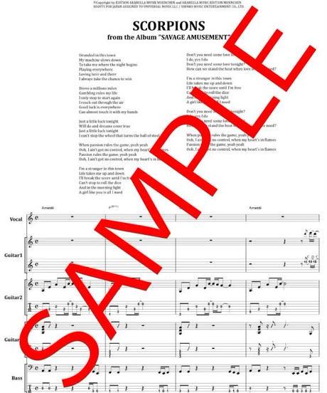 スコーピオンズ(SCORPIONS) / PASSION RULES THE GAME バンド・スコア(TAB譜) from68