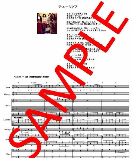 チューリップ   /  心の旅  バンド・スコア(TAB譜)  楽譜