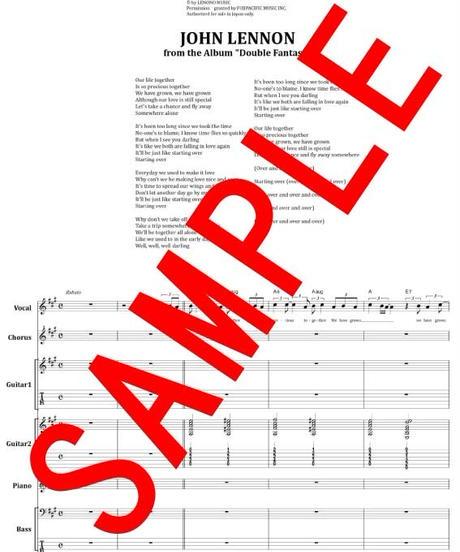 ジョン・レノン(JOHN LENNON) / (JUST LIKE) STARTING OVER スターティング・オーヴァー バンド・スコア(TAB譜) 楽譜 from68