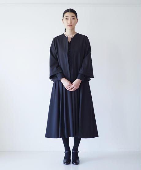 <fruits of life>ウールノーカラージャケット / 墨色(ブラック)