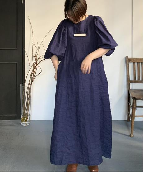 UT210OP007 ギャザースリーブワンピース【040/リネンネイビー】