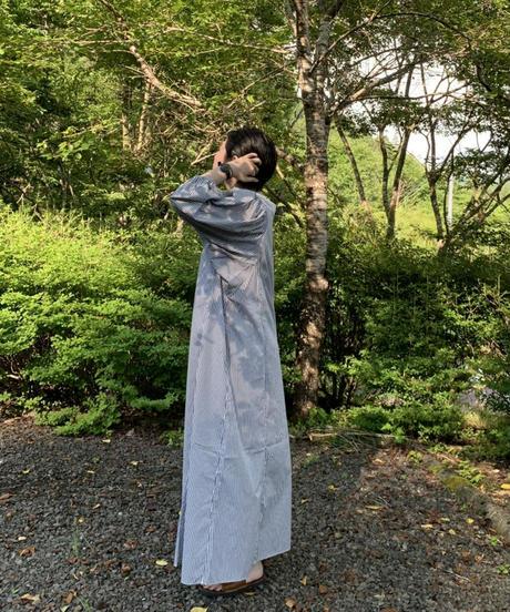 UT210OP007 ギャザースリーブワンピース【105/ネイビーストライプ】