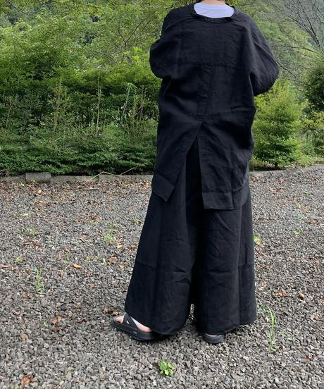 UT213SH020 トリプルワッシャーリネン バンドカラーシャツ【001/クロ】