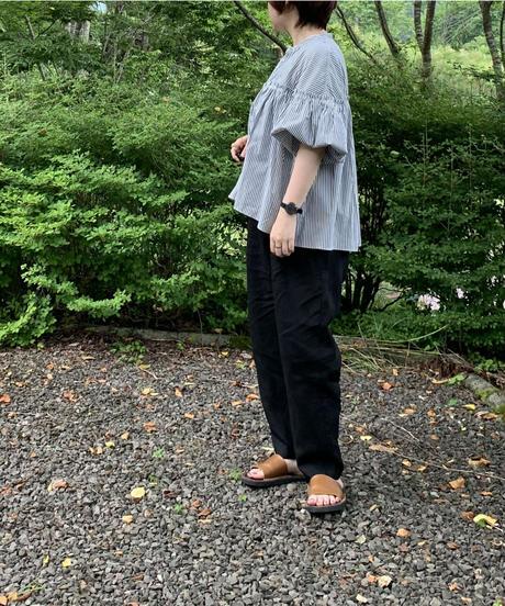 UT171BL001 バンドカラーブラウス【105/ネイビーストライプ】