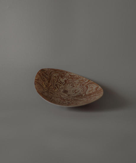 Oval Brown and Cream Glass Serving Platter