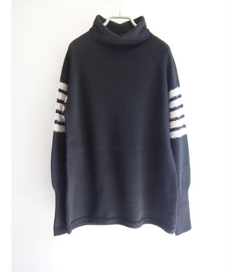 【日本製】シャギーラインニットオフネックプルオーバー( Whole Garment Knit )