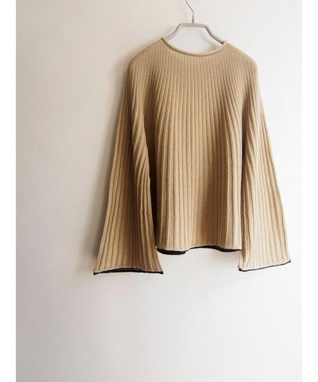 【日本製】針抜きリブ放射ラグランプルオーバー ( Whole Garment Knit )