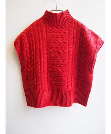 【日本製】ポップコーンケーブルワイドベスト ( Whole Garment Knit )