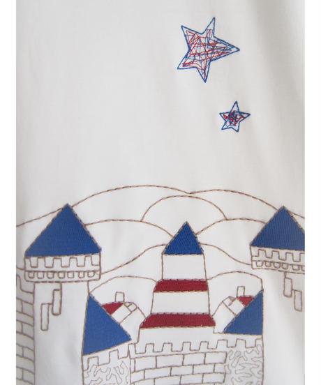 Castle 刺繍コットンシルケット6分袖Tシャツ