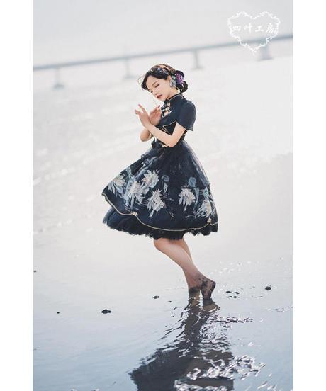 「月下美人クラゲ」チャイナドレス風ワンピース【7/29まで】