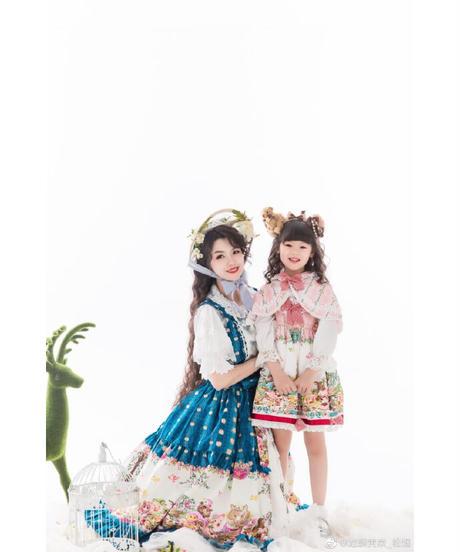 「森のお友達」キッズドレス&ショートケープ セット